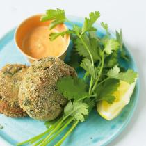 A picture of Delia's Louisiana Crab Cakes with Red Pepper Mayonnaise recipe