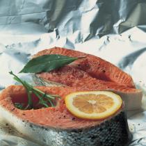 A picture of Delia's Salmon Steaks with Avocado and Creme Fraiche Sauce recipe