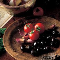 A picture of Delia's Salmon with a Saffron Couscous Crust and Tomato and Olive Vinaigrette recipe