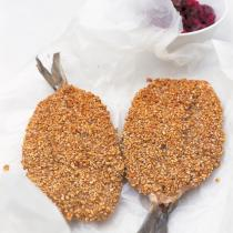 A picture of Delia's Fried Herrings with Oatmeal and a Beetroot Relish recipe