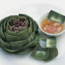 A picture of Delia's Globe Artichokes with Shallot Vinaigrette recipe