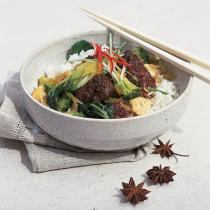 A picture of Delia's Oriental Pork Casserole with Stir-fried Green Vegetables recipe