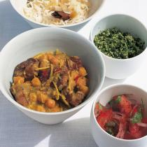 Htc spiced lamb curry with chickpeas green coconut sambal and tomato and red onion pickle