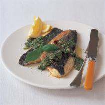 A picture of Delia's Sea Bass with Salsa Verde recipe