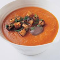 A picture of Delia's Chilled Fennel Gazpacho with Olive Ciabatta Croutons recipe